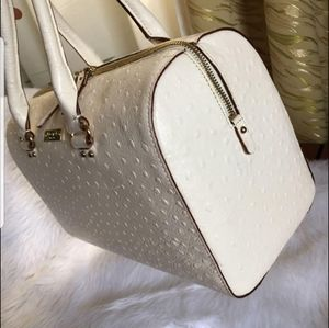 Kate Spade ivory ostrich skin leather doctors bag